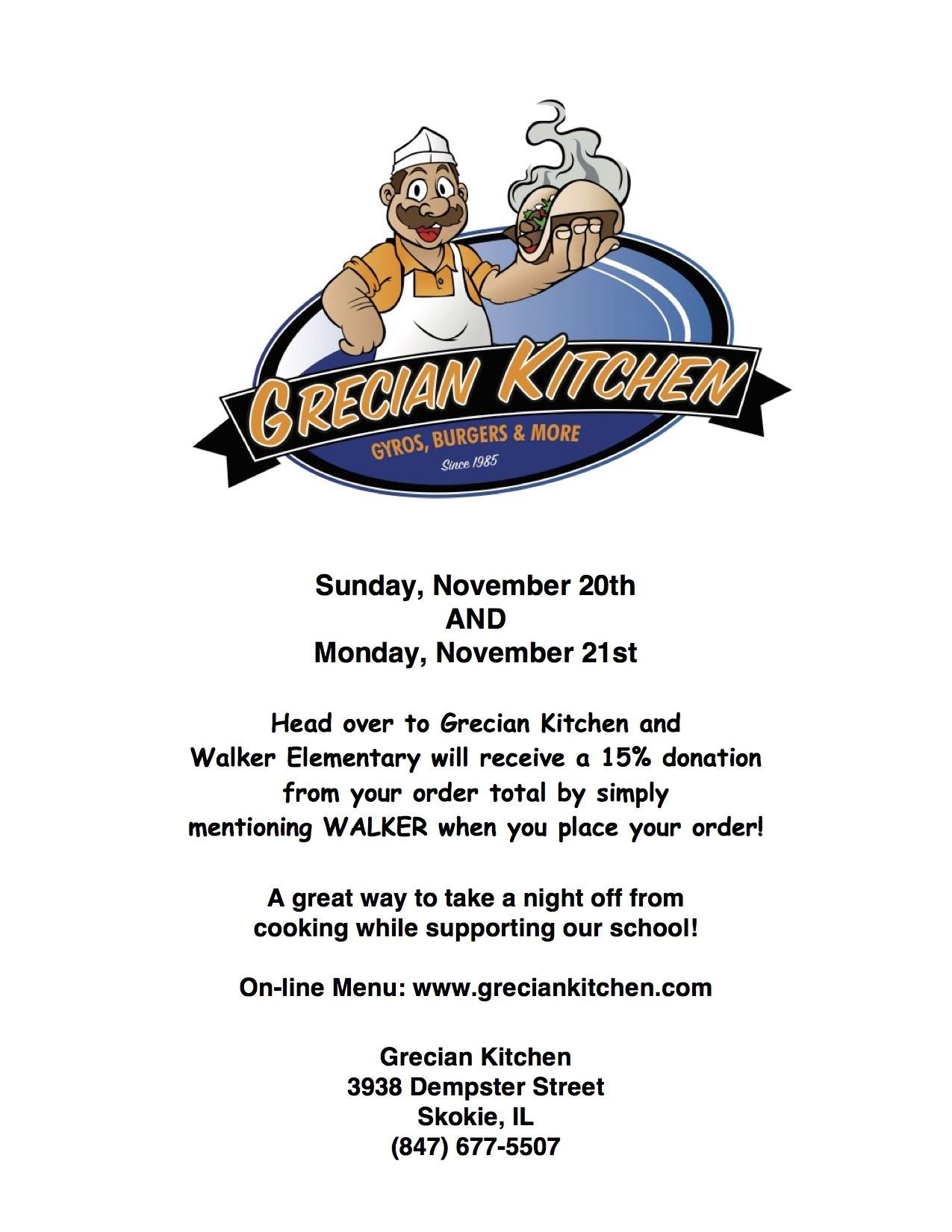 Grecian Kitchen will donate 15% back to Walker this coming Sunday ...