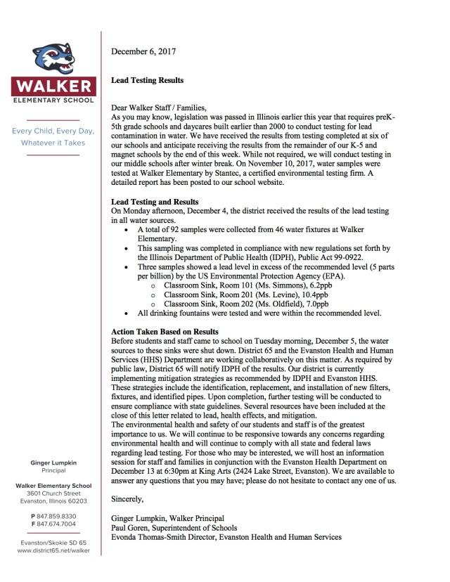 Walker Letter Water testing
